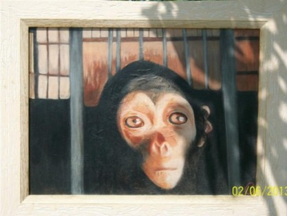 """Reproduction de """"L'Expérimentation animale"""". Copyright 2012. Cécile Worringen-Erhard, artiste-peintre, Strasbourg."""